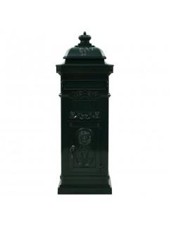 Buzón de columna de aluminio estilo vintage inoxidable verde
