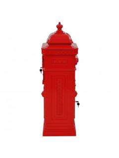 Buzón de columna de aluminio estilo vintage inoxidable rojo