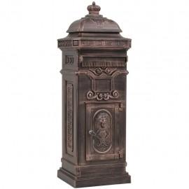 Buzón de columna de aluminio estilo vintage inoxidable bronce