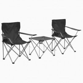 Juego de mesa y sillas de camping 3 piezas gris