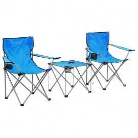 Conjunto de mesa y sillas de camping 3 piezas azul