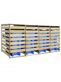 Cobertizo 4 contenedores de basura pino impregnado FSC 240 L
