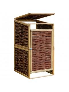 Cobertizo individual para contenedor de basura de pino y mimbre