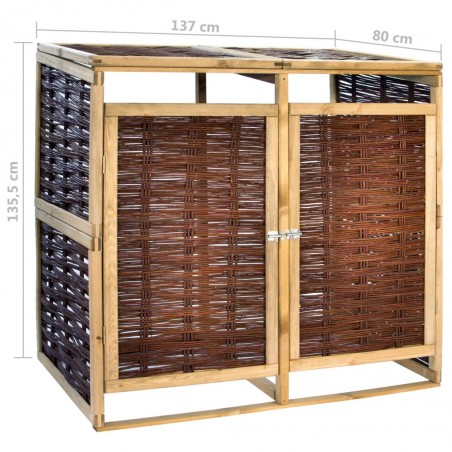 Cobertizo doble para basura madera de pino y mimbre