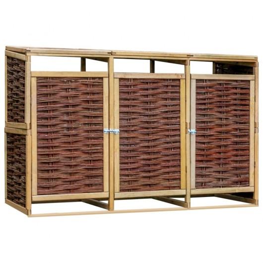 Cobertizo triple para basura madera de pino y mimbre