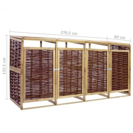 Cobertizo cuádruple para basura madera de pino y mimbre