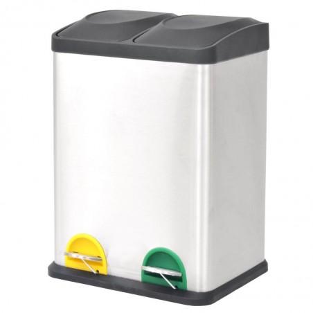 Cubo de reciclaje y basura con pedal acero inoxidable 2x18 L