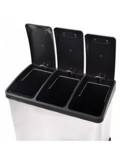 Cubo de reciclaje y basura con pedal acero inoxidable 3x8 L