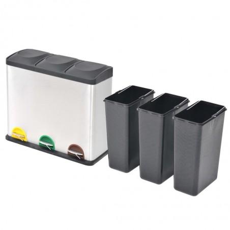 Cubo de reciclaje y basura con pedal acero inoxidable 3x18 L