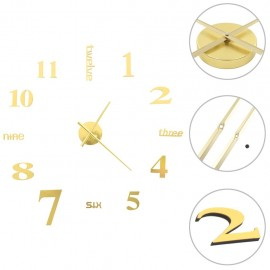 Reloj 3D de pared con diseño moderno 100 cm XXL dorado