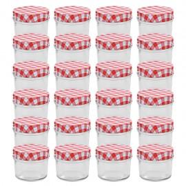 Tarros de mermelada de vidrio tapa blanca y roja 24 uds 110 ml