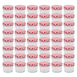 Tarros de mermelada de vidrio tapa blanca y roja 48 uds 110 ml