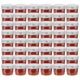 Tarros de mermelada de vidrio tapa plateada 48 uds 110 ml