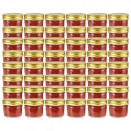 Tarros de mermelada de vidrio tapa dorada 48 uds 110 ml
