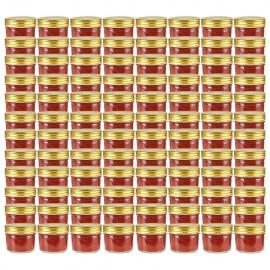 Tarros de mermelada de vidrio tapa dorada 96 uds 110 ml