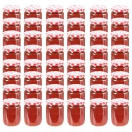 Tarros de mermelada de vidrio tapa blanca y roja 48 uds 230 ml