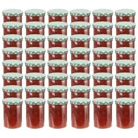 Tarros de mermelada de vidrio tapa blanca y verde 48 uds 400 ml