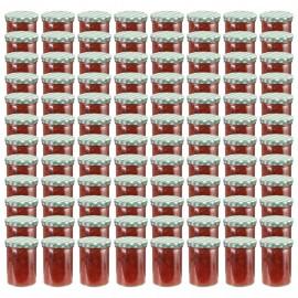 Tarros de mermelada de vidrio tapa blanca y verde 96 uds 400 ml