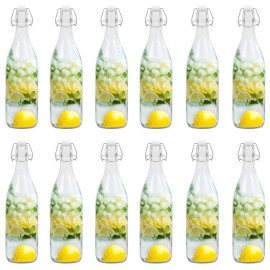 Botella de vidrio con cierre de clip 12 piezas 1 L