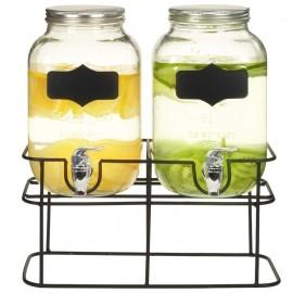 Dispensadores de bebida con soporte 2 unidades vidrio 2 x 4 L