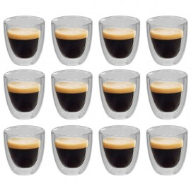 Vasos de cristal térmico doble pared para café 12 uds 80 ml