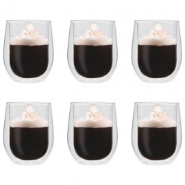 Vasos de cristal térmico doble pared para café 6 uds 320 ml