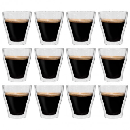 Vasos de cristal térmico doble pared para café 12 ud 280 ml