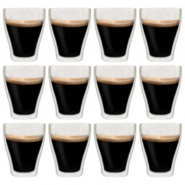 Vasos de cristal térmico doble pared para café 12 uds 370 ml