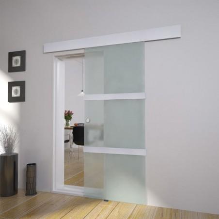 Puerta corredera de cristal y aluminio 178 cm plateado
