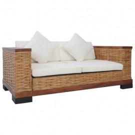 Sofá de 2 plazas con cojines de ratán natural marrón