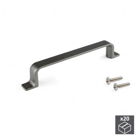 Tiradores para mueble, intereje 96 mm, Zamak, color titanio, 20 ud.