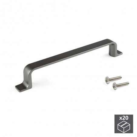 Tiradores para mueble, intereje 128 mm, Zamak, color titanio, 20 ud.