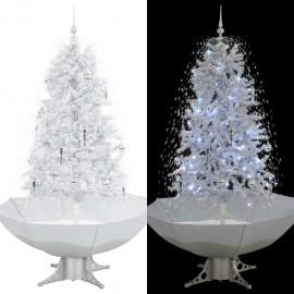 Árbol de Navidad con nieve con base en paraguas blanco 170 cm