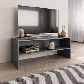 Mueble de TV aglomerado gris 100x40x40 cm