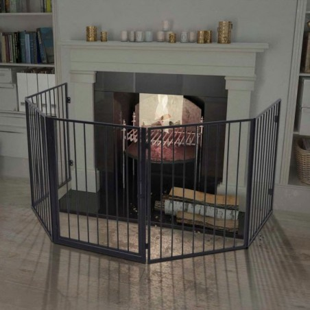 Reja de protección para chimenea para mascotas acero negra