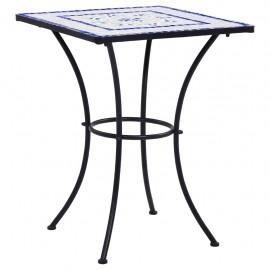 Mesa de mosaico para cafetería cerámica azul y blanco 60 cm