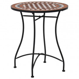Mesa de mosaico para cafetería cerámica marrón 60 cm