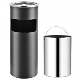 Papelera con cenicero de acero gris 30 L