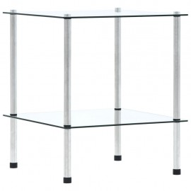 Estantería de 2 niveles vidrio templado transparente 40x40x47cm