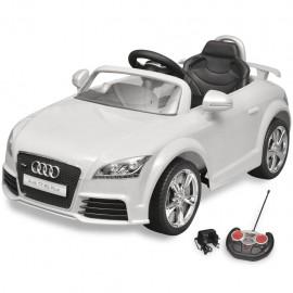 Coche de juguete blanco con mando, modelo Audi TT RS