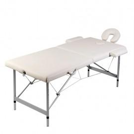 Mesa camilla de masaje de aluminio plegable de 2 cuerpos, blanco crema