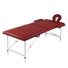 Mesa camilla de masaje de aluminio plegable de dos cuerpos rojos