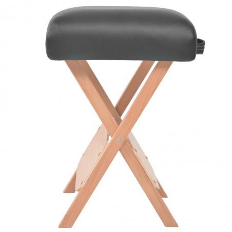 Taburete de masaje plegable 12 cm de grosor y 2 cojines negro