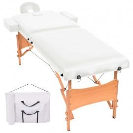 Camilla de masaje plegable con 2 zonas 10 cm de grosor blanca