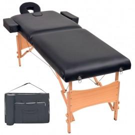Camilla de masaje plegable con 2 zonas 10 cm de grosor negra