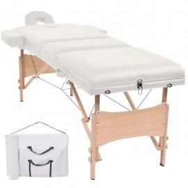 Mesa plegable de masaje con 3 zonas 10 cm de grosor blanco