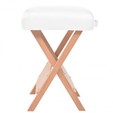 Set mesa plegable de masaje y taburete 10 cm de espesor blanco