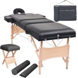 Set mesa plegable masaje y taburete 3 zonas 10 cm grosor negro