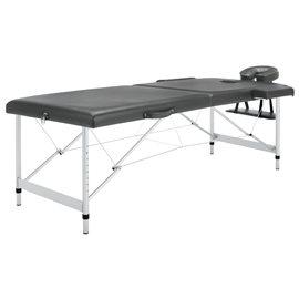 Camilla masaje 2 zonas estructura aluminio antracita 186x68 cm