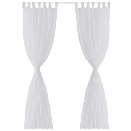 2 Cortinas blancas transparentes 140 x 175 cm